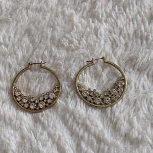 Jessica Simpson Gold and Crystal Hoops